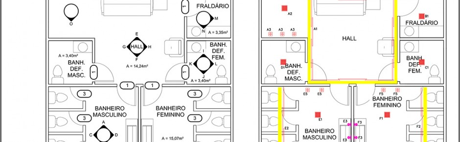 Banheiro comercial Espaço Nobre - projeto de reforma
