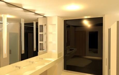 Banheiro Comercial - espelho e lavatório