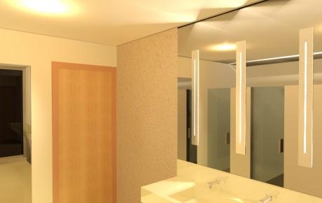 Banheiro comercial Espaço Nobre - espelho, lavatório e porta